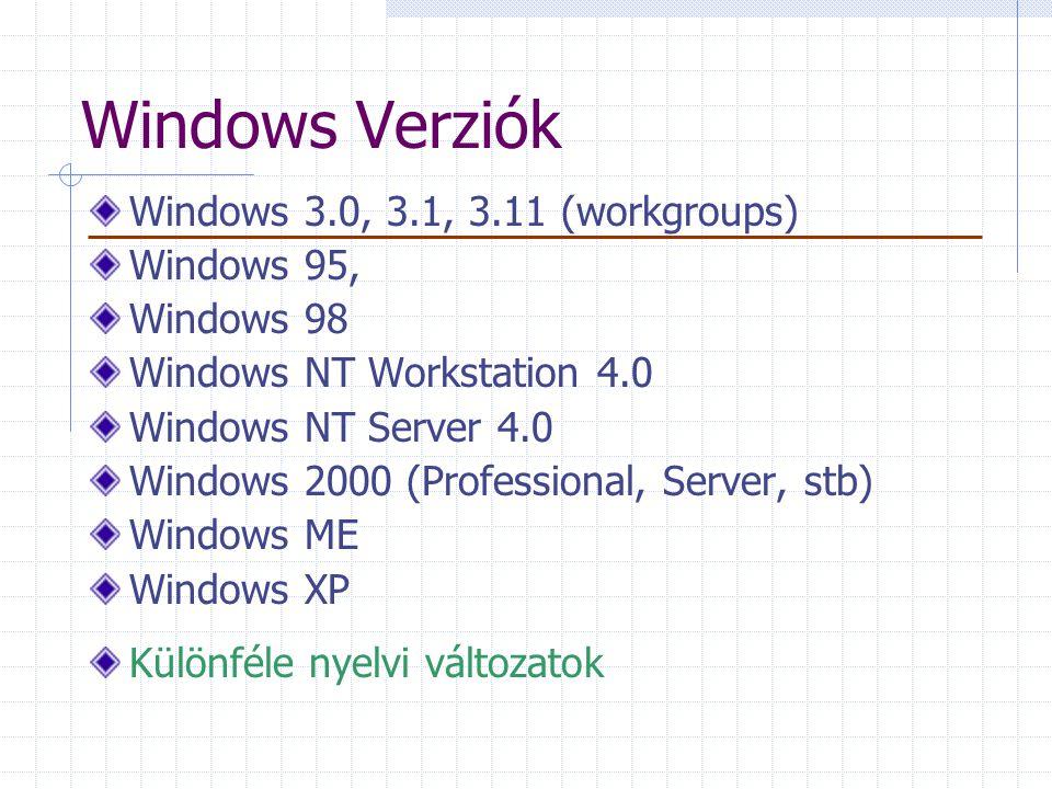 Windows Verziók Windows 3.0, 3.1, 3.11 (workgroups) Windows 95,