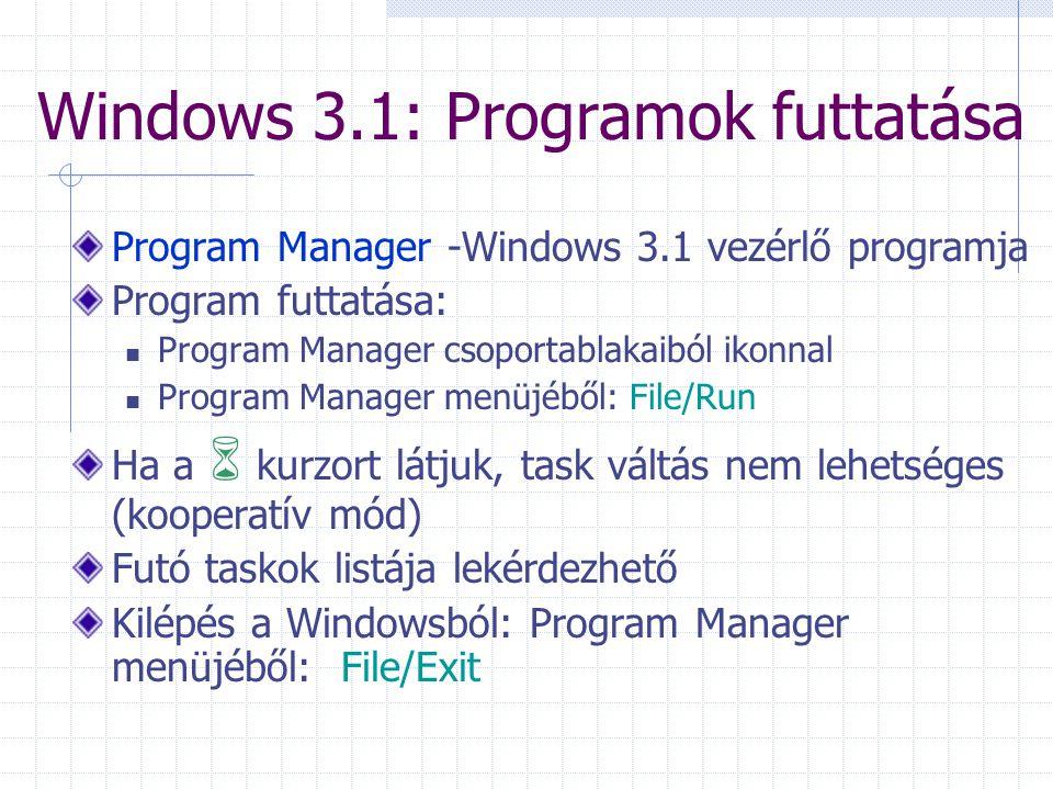 Windows 3.1: Programok futtatása