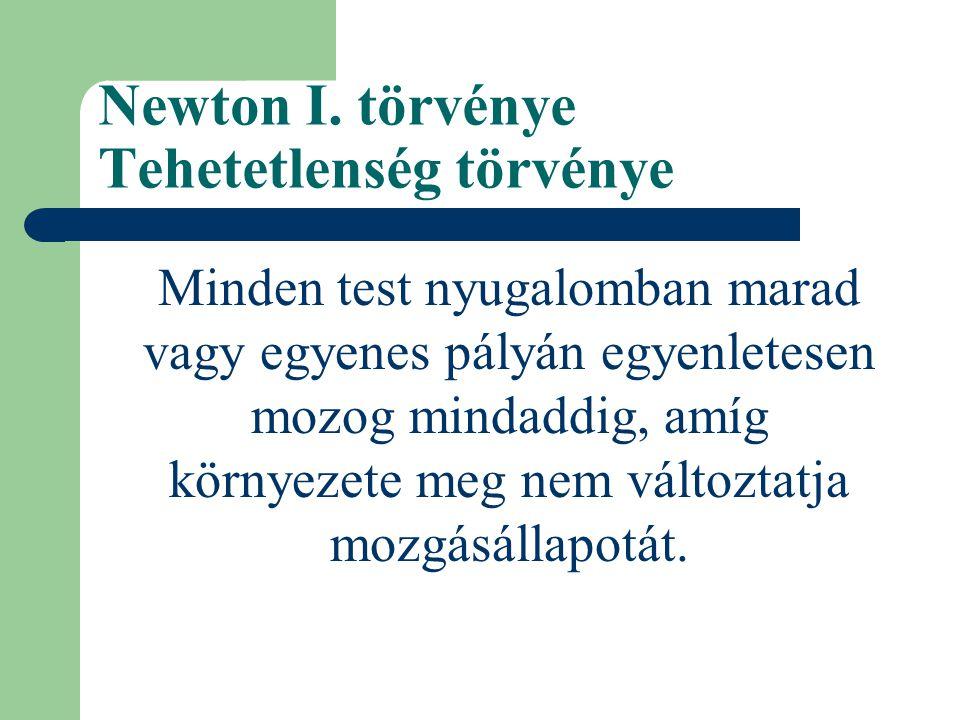 Newton I. törvénye Tehetetlenség törvénye