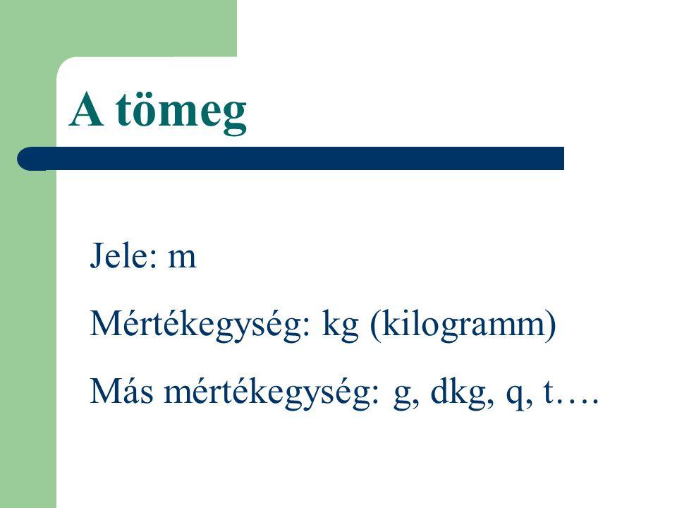 A tömeg Jele: m Mértékegység: kg (kilogramm)