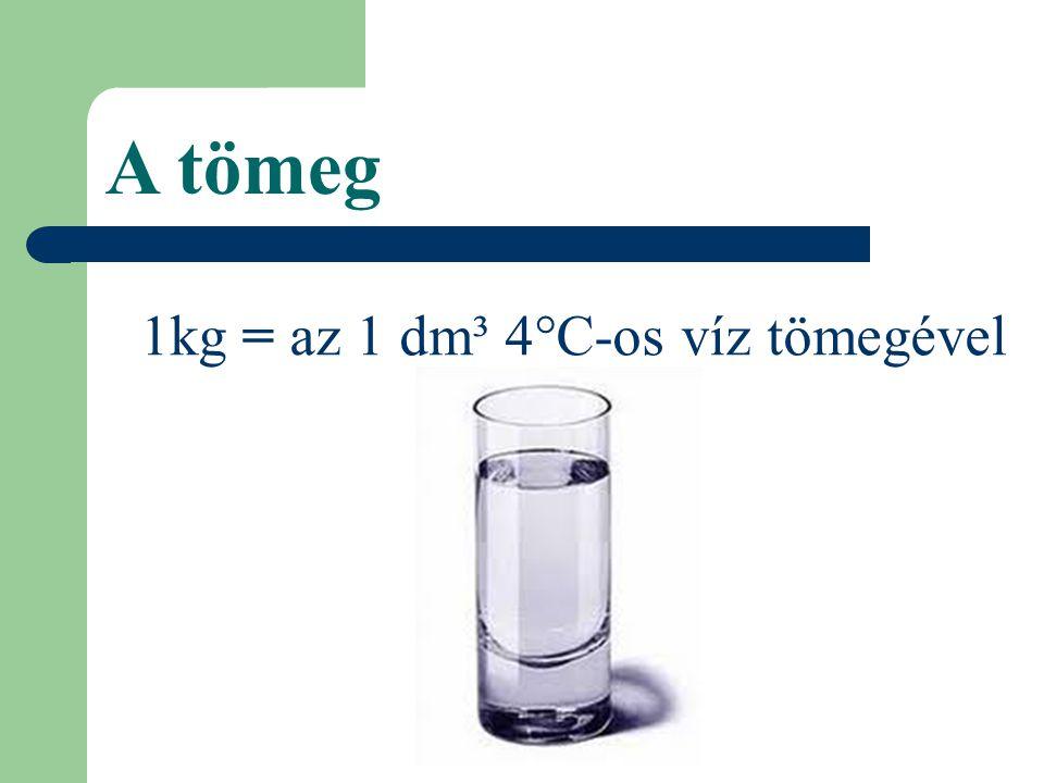 1kg = az 1 dm³ 4°C-os víz tömegével