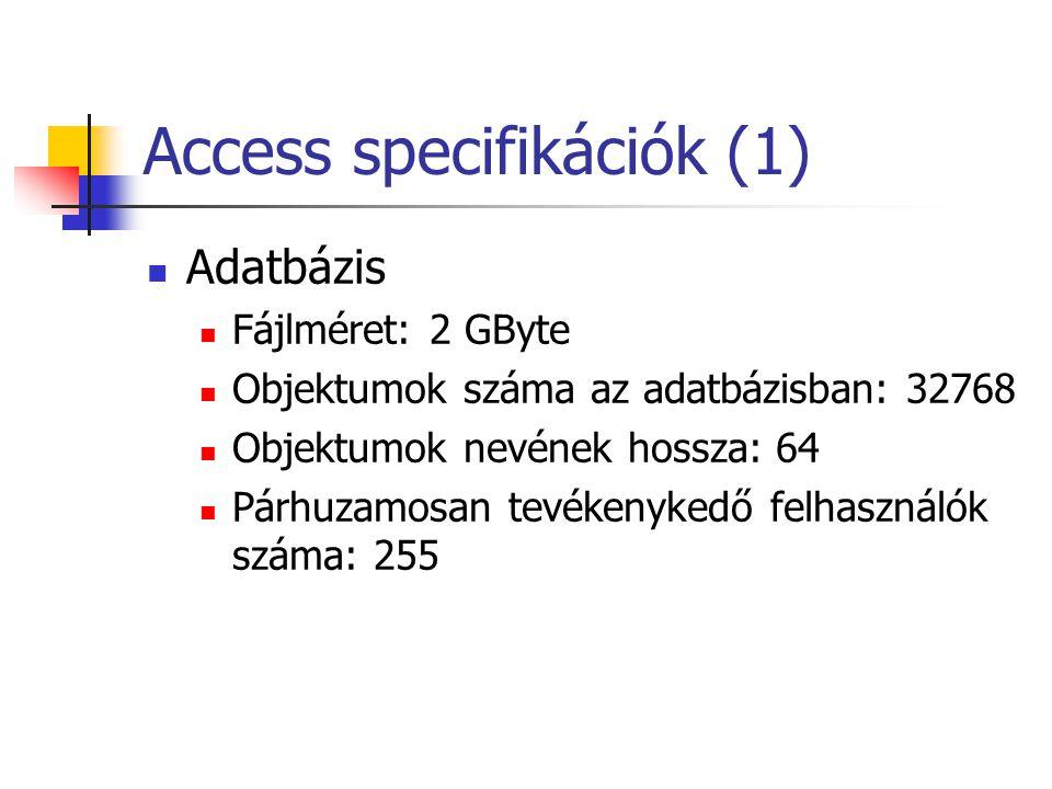 Access specifikációk (1)