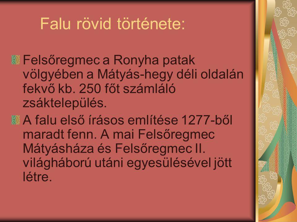 Falu rövid története: Felsőregmec a Ronyha patak völgyében a Mátyás-hegy déli oldalán fekvő kb. 250 főt számláló zsáktelepülés.