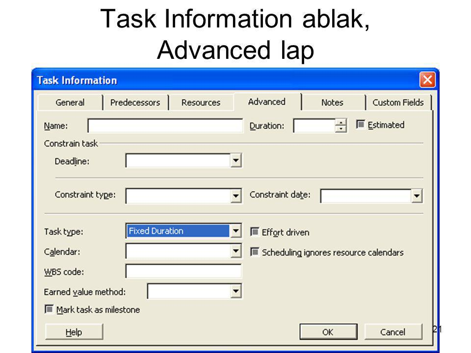 Task Information ablak, Advanced lap