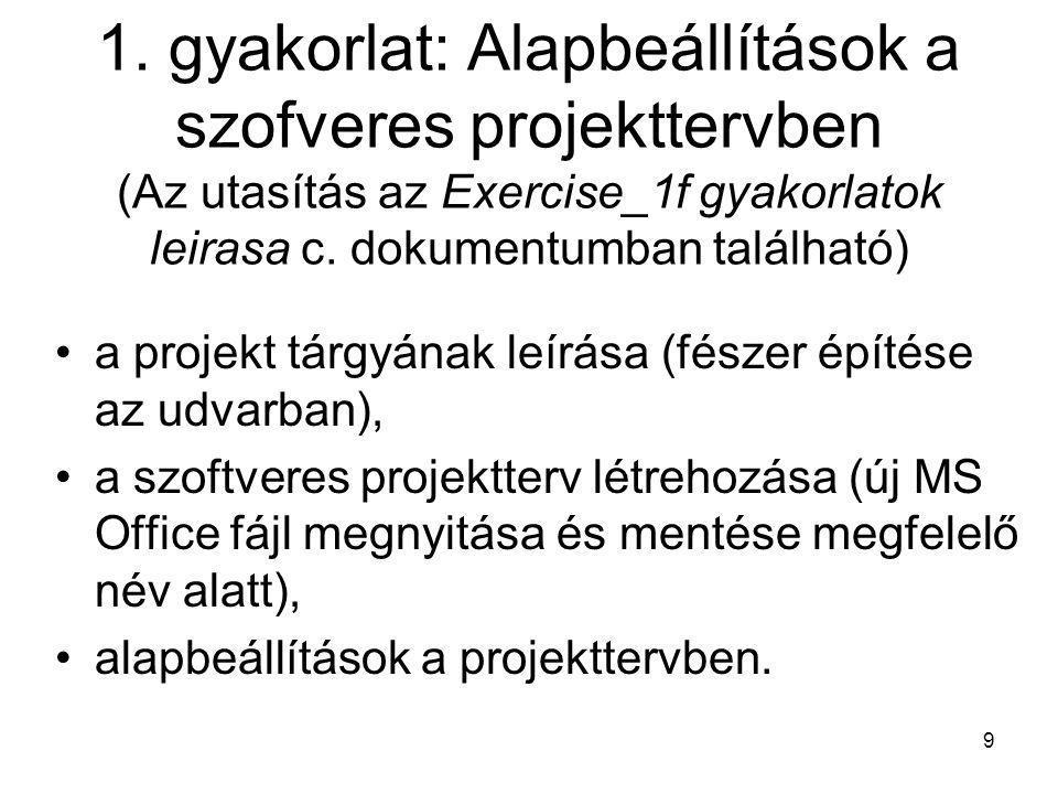 1. gyakorlat: Alapbeállítások a szofveres projekttervben (Az utasítás az Exercise_1f gyakorlatok leirasa c. dokumentumban található)