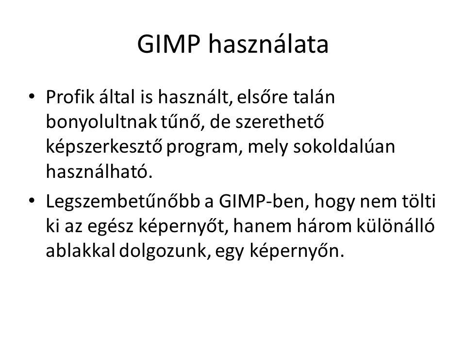 GIMP használata Profik által is használt, elsőre talán bonyolultnak tűnő, de szerethető képszerkesztő program, mely sokoldalúan használható.