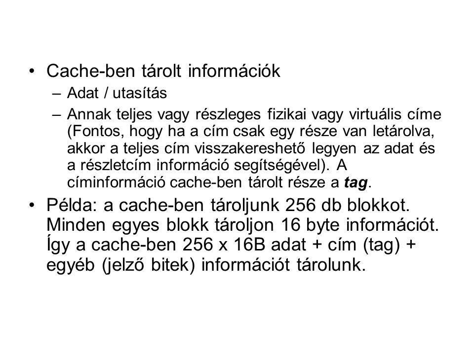 Cache-ben tárolt információk