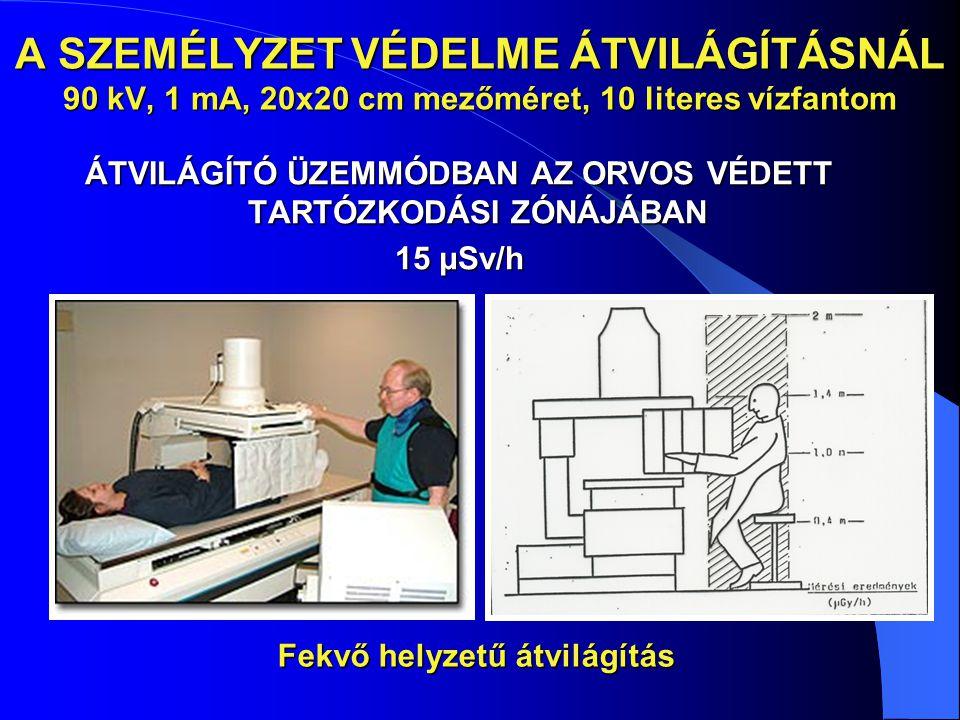 A SZEMÉLYZET VÉDELME ÁTVILÁGÍTÁSNÁL 90 kV, 1 mA, 20x20 cm mezőméret, 10 literes vízfantom