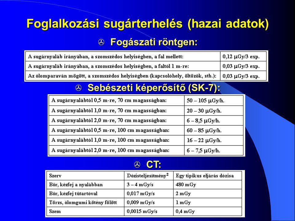 Foglalkozási sugárterhelés (hazai adatok) Sebészeti képerősítő (SK-7):