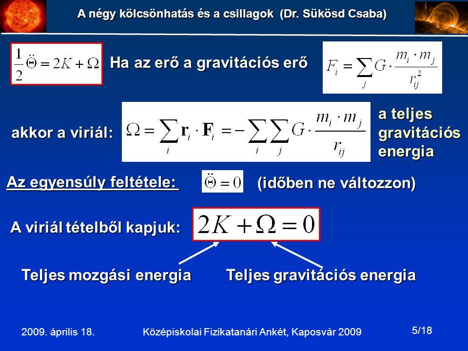 Ha az erő a gravitációs erő