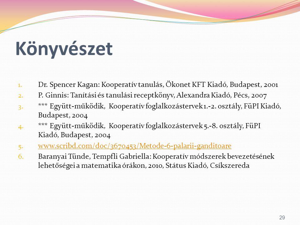 Könyvészet Dr. Spencer Kagan: Kooperatív tanulás, Ökonet KFT Kiadó, Budapest, 2001.
