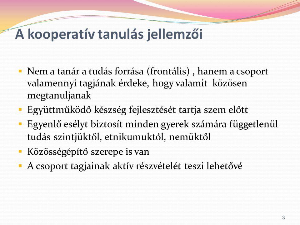 A kooperatív tanulás jellemzői