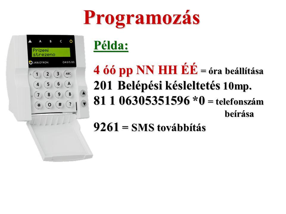 Programozás Példa: 4 óó pp NN HH ÉÉ = óra beállítása