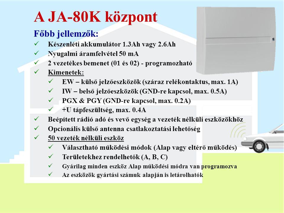 A JA-80K központ Főbb jellemzők:
