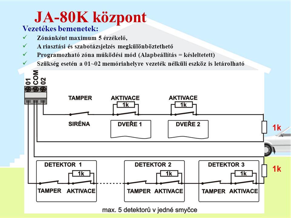 JA-80K központ Vezetékes bemenetek: 1k 1k