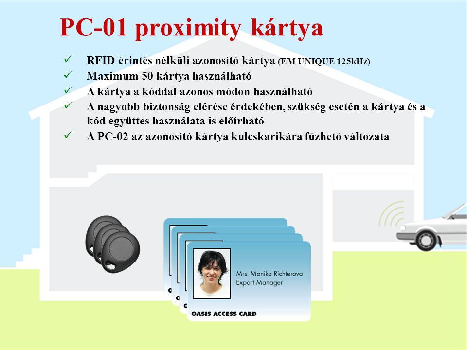 PC-01 proximity kártya RFID érintés nélküli azonosító kártya (EM UNIQUE 125kHz) Maximum 50 kártya használható.