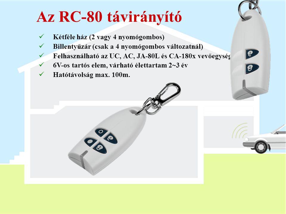Az RC-80 távirányító Kétféle ház (2 vagy 4 nyomógombos)