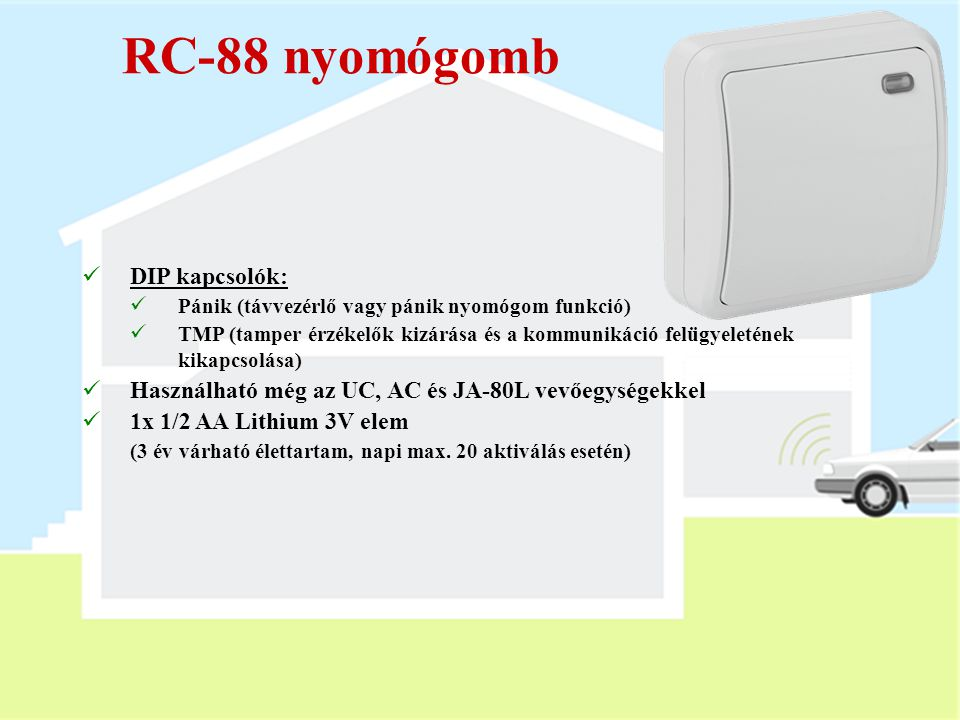 RC-88 nyomógomb DIP kapcsolók: