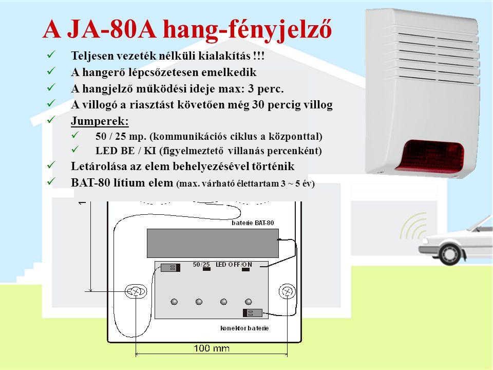 A JA-80A hang-fényjelző Teljesen vezeték nélküli kialakítás !!!