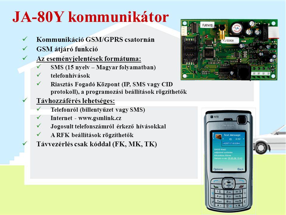JA-80Y kommunikátor Kommunikáció GSM/GPRS csatornán GSM átjáró funkció