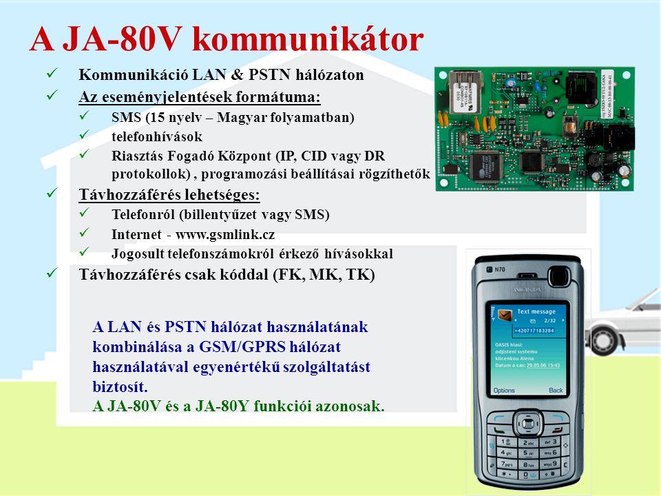 A JA-80V kommunikátor Kommunikáció LAN & PSTN hálózaton