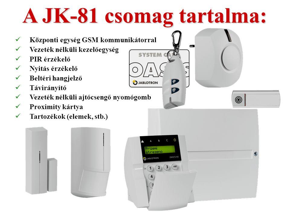 A JK-81 csomag tartalma: Központi egység GSM kommunikátorral