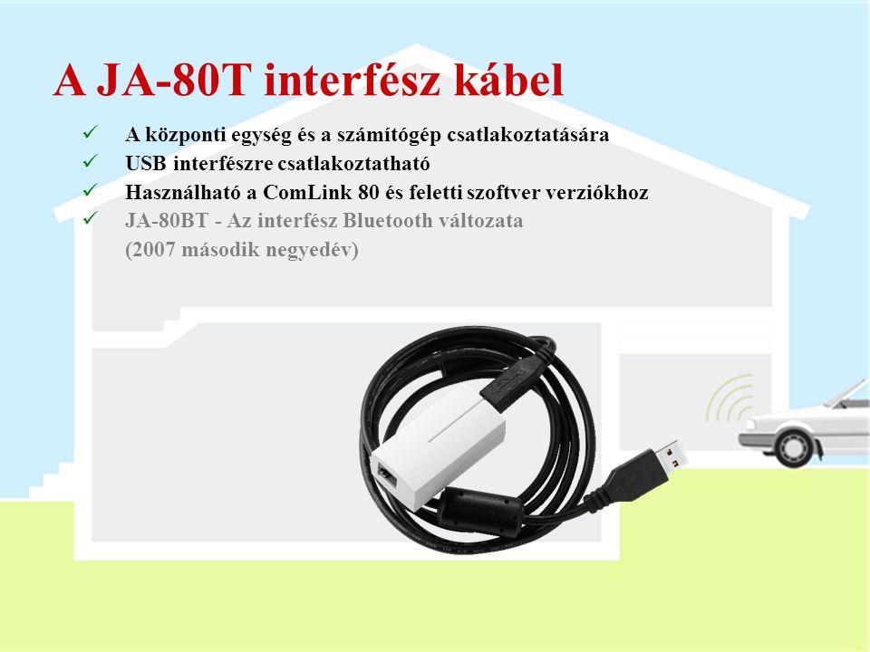 A JA-80T interfész kábel A központi egység és a számítógép csatlakoztatására. USB interfészre csatlakoztatható.