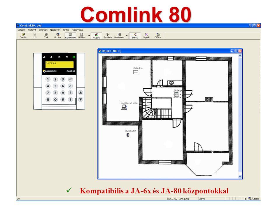 Comlink 80 Kompatibilis a JA-6x és JA-80 központokkal