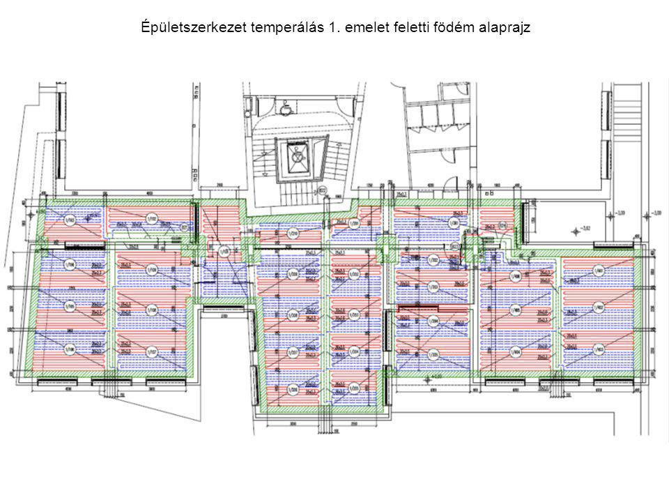 Épületszerkezet temperálás 1. emelet feletti födém alaprajz