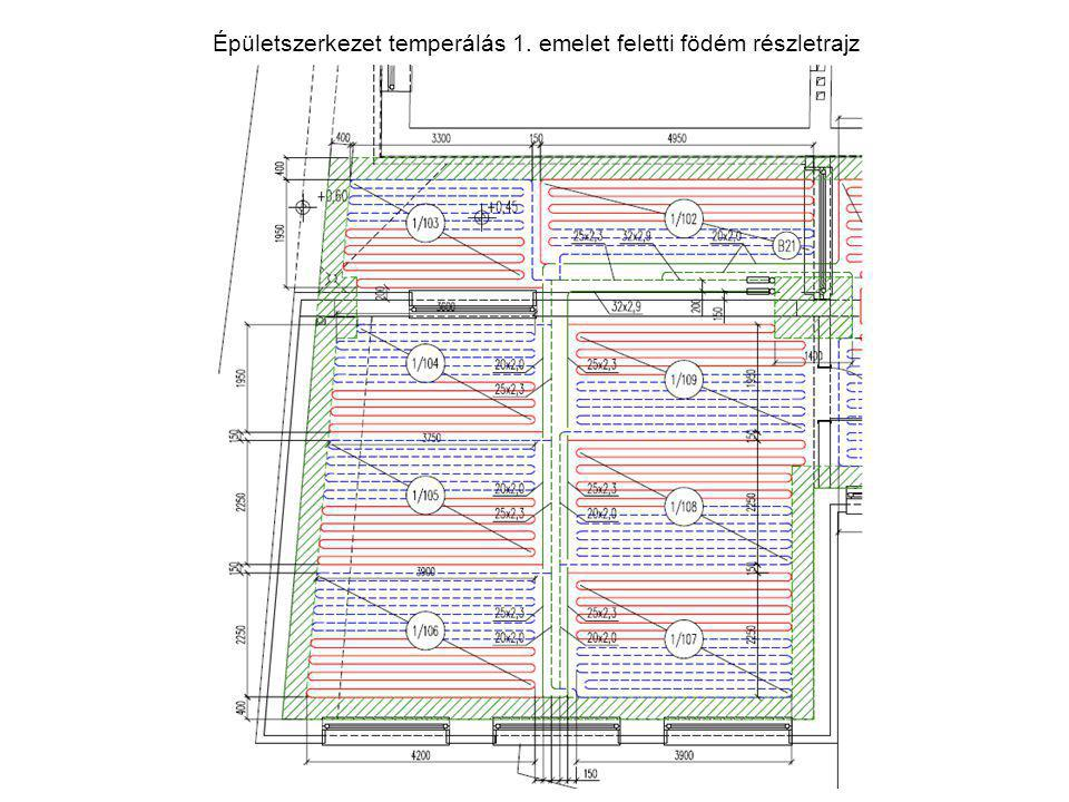 Épületszerkezet temperálás 1. emelet feletti födém részletrajz