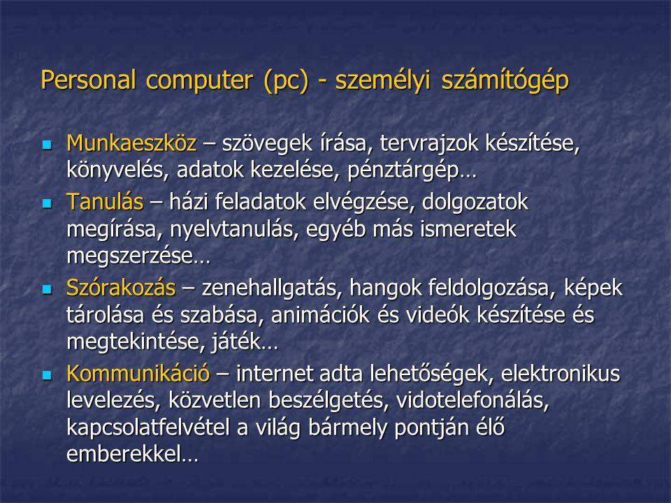 Personal computer (pc) - személyi számítógép