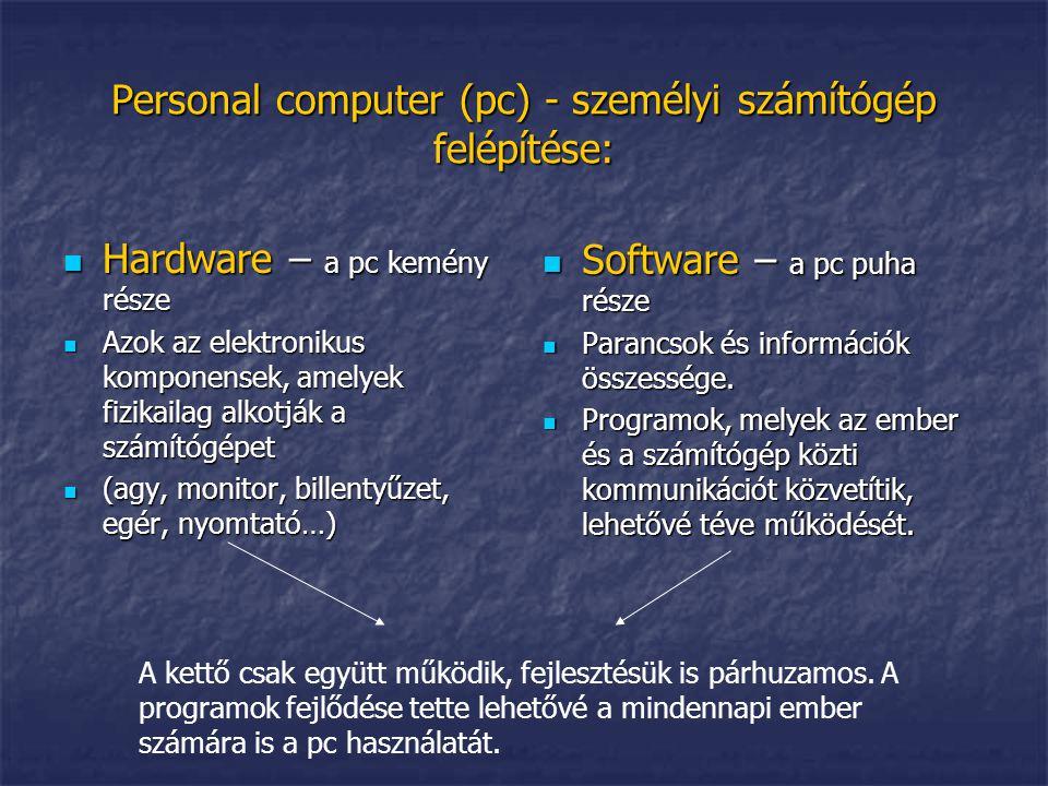 Personal computer (pc) - személyi számítógép felépítése: