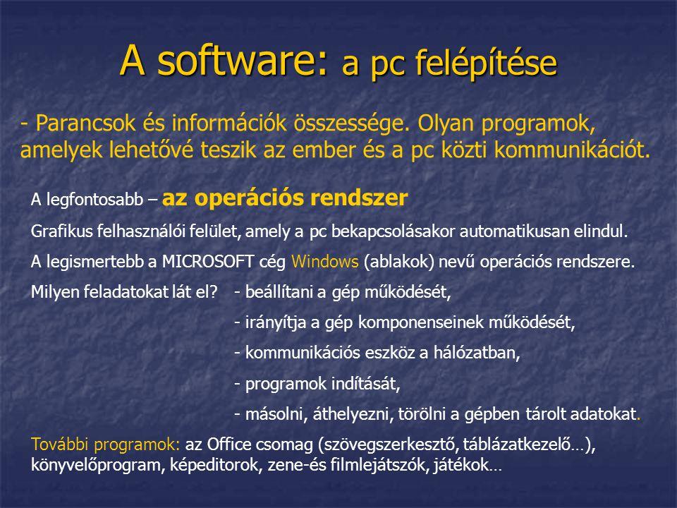 A software: a pc felépítése
