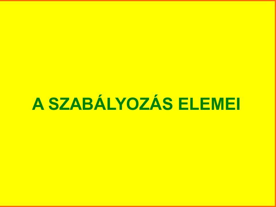 A SZABÁLYOZÁS ELEMEI