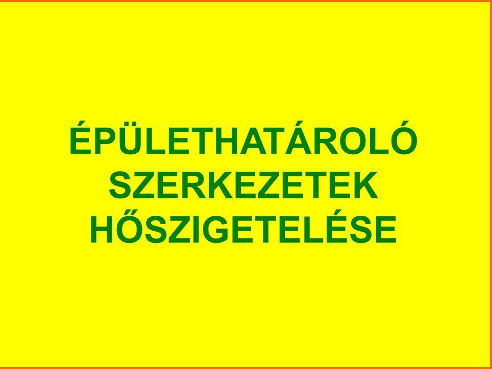 ÉPÜLETHATÁROLÓ SZERKEZETEK HŐSZIGETELÉSE