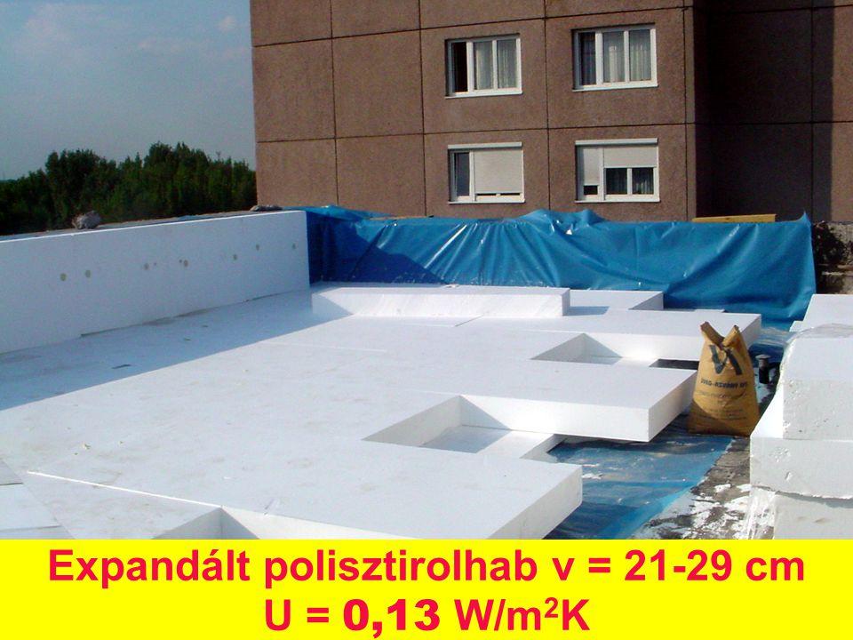 Expandált polisztirolhab v = 21-29 cm U = 0,13 W/m2K
