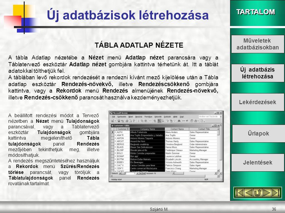 Új adatbázisok létrehozása