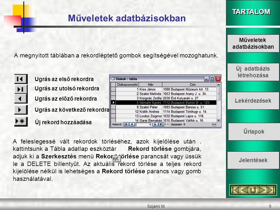 Műveletek adatbázisokban