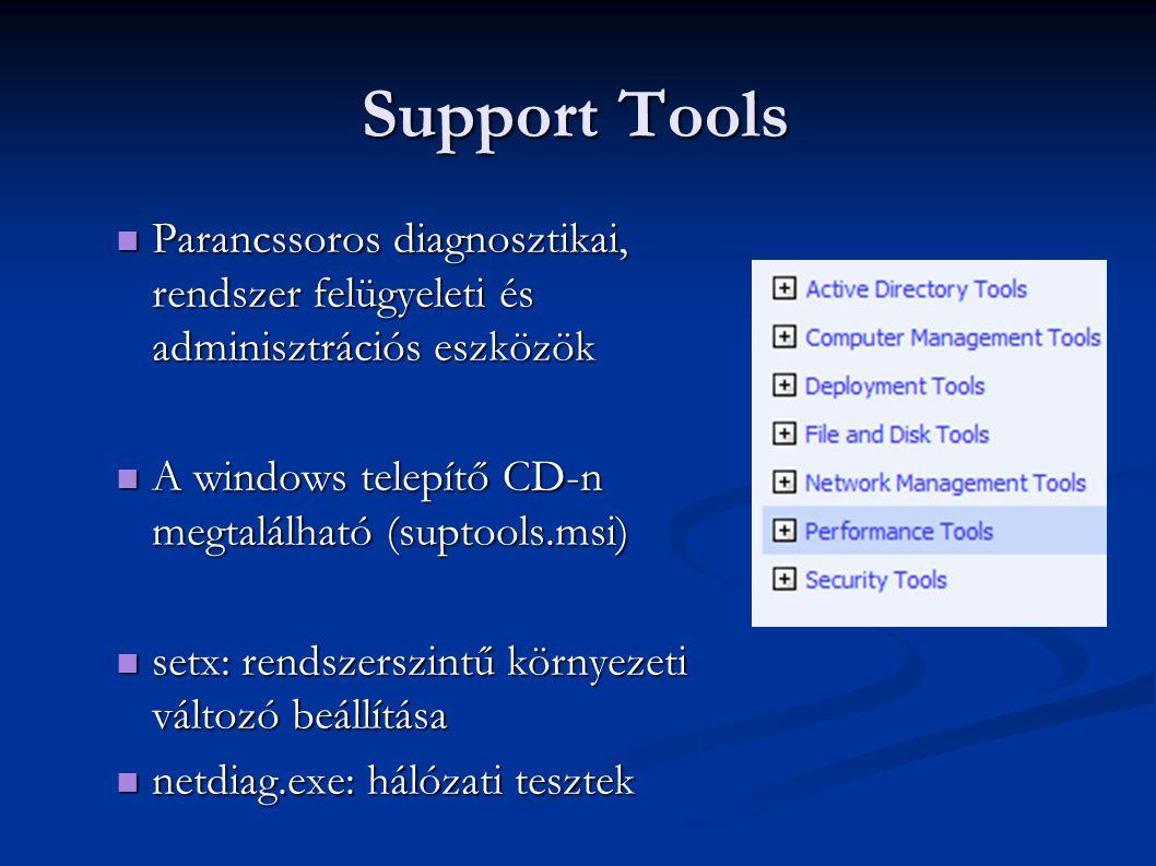 Support Tools Parancssoros diagnosztikai, rendszer felügyeleti és adminisztrációs eszközök. A windows telepítő CD-n megtalálható (suptools.msi)