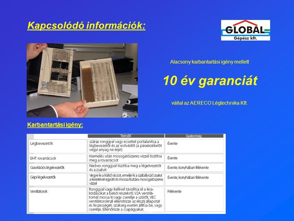 10 év garanciát Kapcsolódó információk: Karbantartási igény: