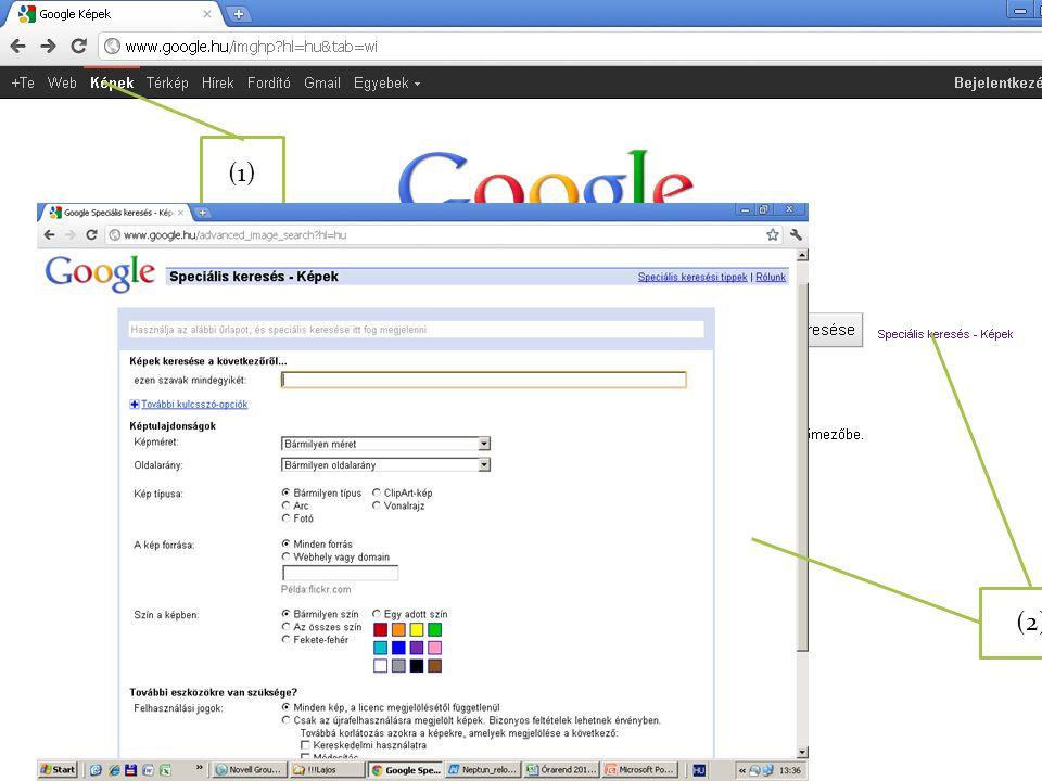 (1) Külön felület áll rendelkezésre a képek keresésére (1), amelyhez speciális beállítások társulhatnak (2).