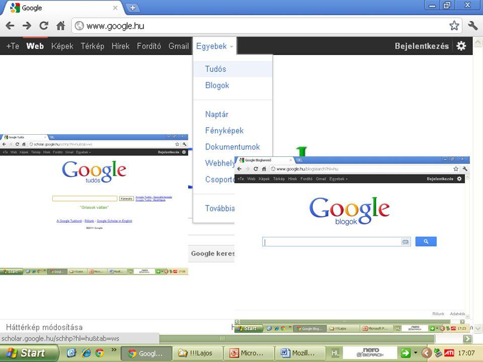 A Google-n belül további keresési csoportokat is taláhatunk. Pl