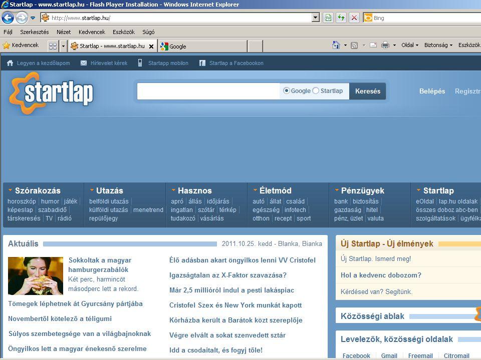 Az Internet Explorer böngésző indítása.