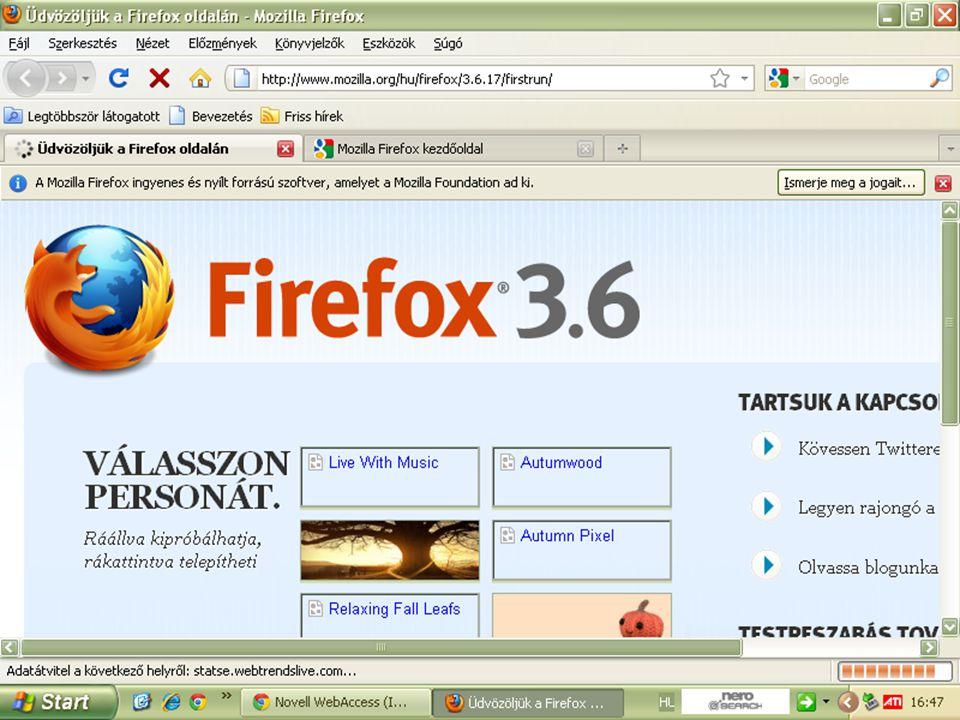 A Mozzilla Firefox böngésző indítása.