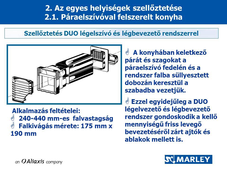 Szellőztetés DUO légelszívó és légbevezető rendszerrel