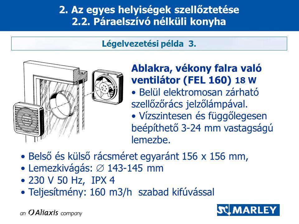 2. Az egyes helyiségek szellőztetése 2.2. Páraelszívó nélküli konyha