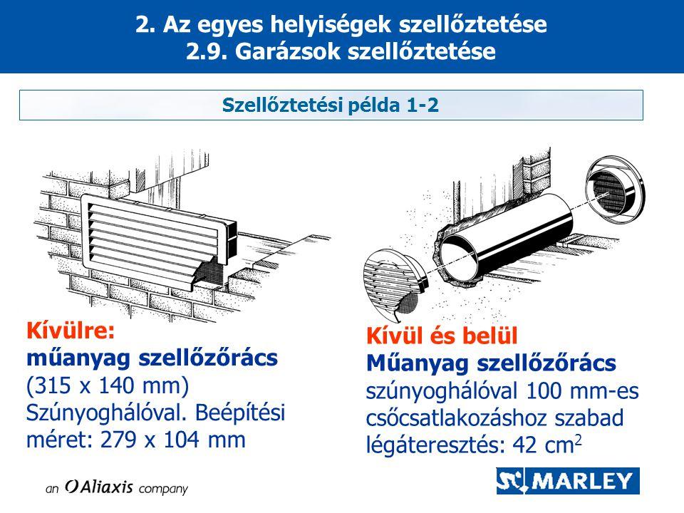 2. Az egyes helyiségek szellőztetése 2.9. Garázsok szellőztetése