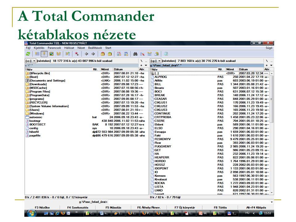 A Total Commander kétablakos nézete