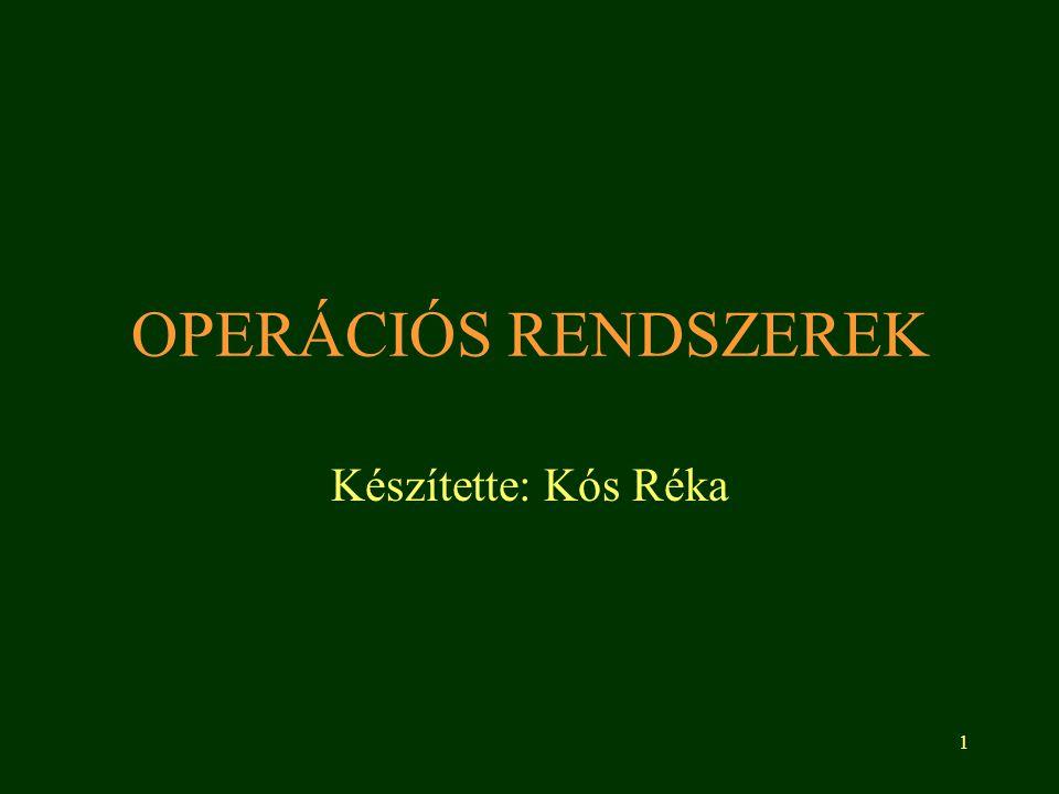 OPERÁCIÓS RENDSZEREK Készítette: Kós Réka