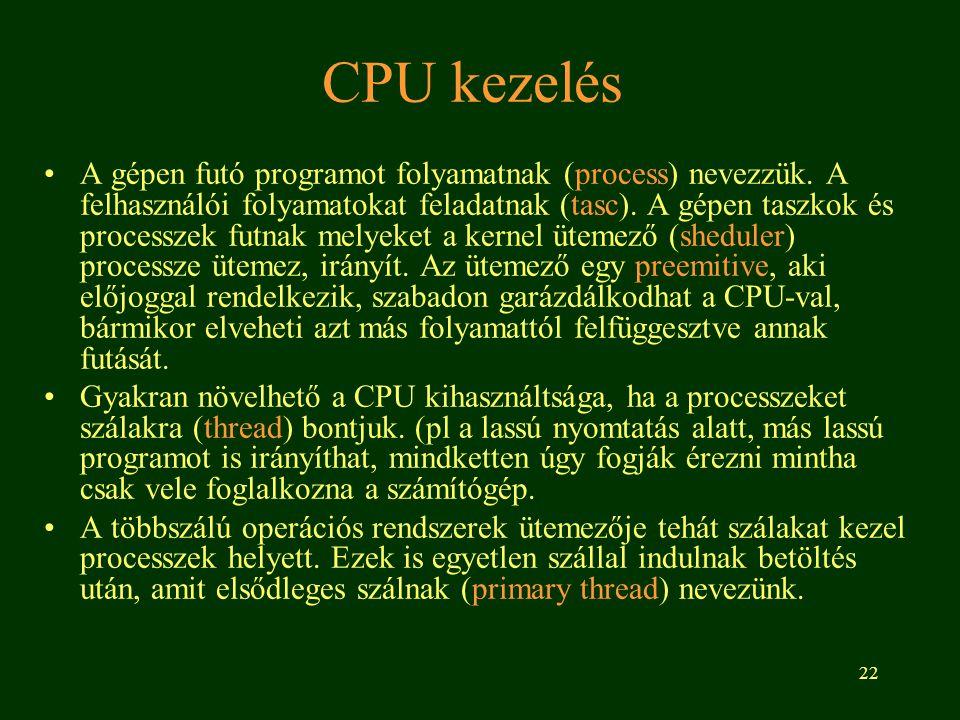 CPU kezelés